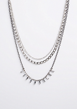 Layered Chain Link & Stone Necklace