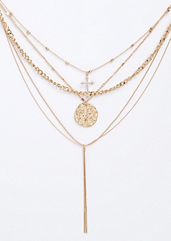 4- Pack Coin & Cross Necklace Set