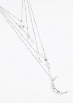 Sparkly Crescent Moon Multi Chain Necklace
