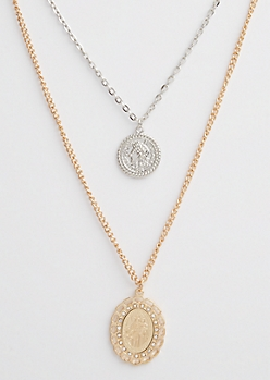 Ancient Coin Pendant Layered Necklace