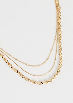 3-Pack Gold Metallic Chain Necklace Set