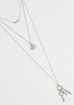 Silver Metallic Layered Cluster Necklace