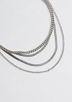 2-Pack Silver Metallic Layered Necklace Set