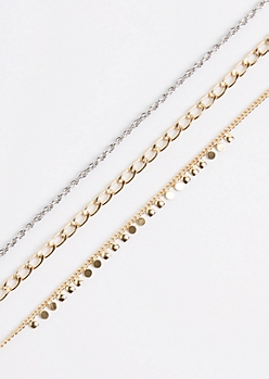 3-Pack Boho Coin Mixed Metal Choker Set