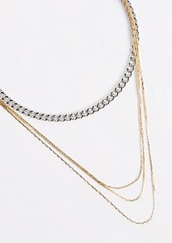 Mixed Metal Tiered Necklace