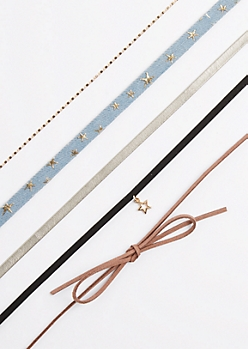 5-Pack Bow & Stars Choker Set