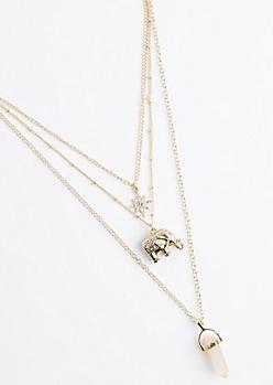 Boho Rose Quartz Tiered Necklace