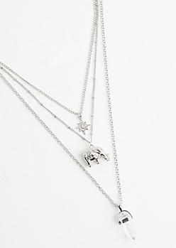 Boho Clear Quartz Tiered Necklace