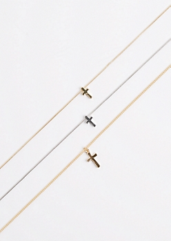 3-Pack Mixed Metal Cross Choker Set