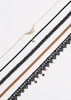 5-Pack Coined Crochet Choker Set