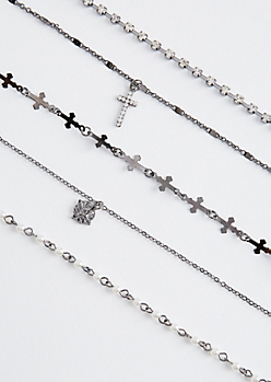 5-Pack Cross & Stone Choker Set