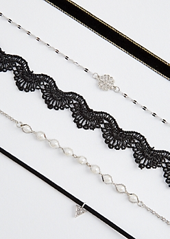 5-Pack Crochet & Pearl Choker Set