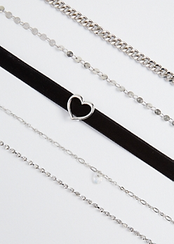 5-Pack Hearts Stone Choker Set