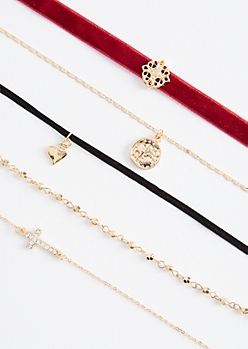 5-Pack Boho Medallion Choker Set