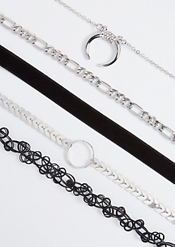5-Pack Crescent Moon & Tattoo Choker Set