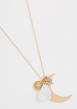 Crescent Medallion Cluster Necklace