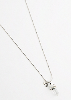 Clear Quartz Drop Necklace
