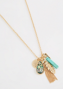 Turquoise Tribal Cluster Necklace