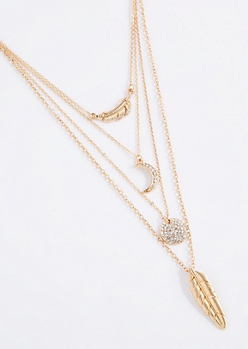 Feather Quadruple Chain Charm Necklace