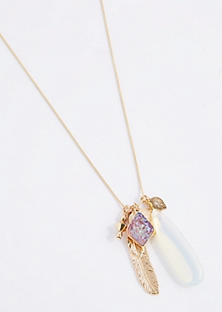 Druzy Teardrop Cluster Pendant Necklace