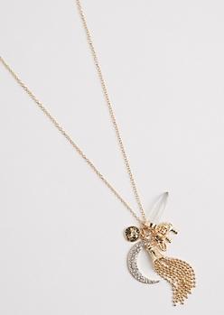 Boho Crescent Cluster Necklace
