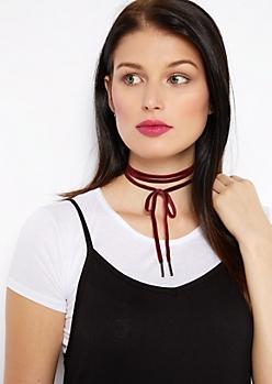 Burgundy Velvet Ribbon Choker