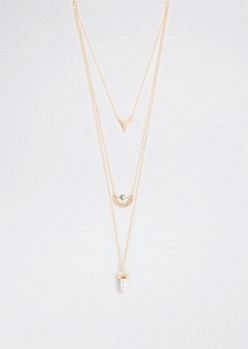 Prism Sunburst Tri-Layered Necklace