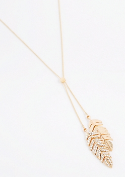 Golden Stone Leaves Lariat Necklace