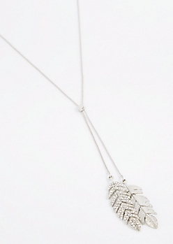 Silver Stone Leaves Lariat Necklace
