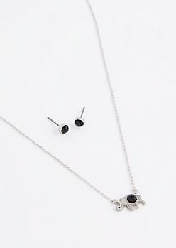 Black Stone Folk Elephant Jewelry Set