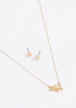 Pink Stone Folk Elephant Jewelry Set