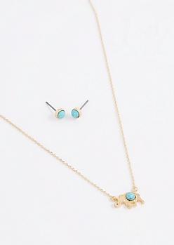 Turquoise Stone Folk Elephant Jewelry Set