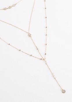 Diamante Disc Choker Y-Necklace