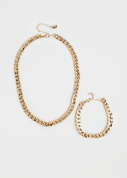 Gold Wheat Chain Jewelry Set