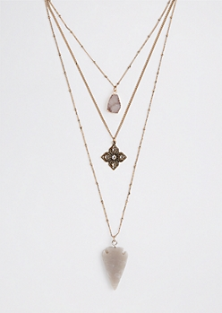 Arrowhead Tiered Charm Necklace