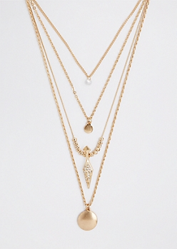 Pave Pyramid Tiered Charm Necklace
