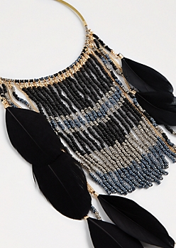 Bohemian Feathered Collar Necklace