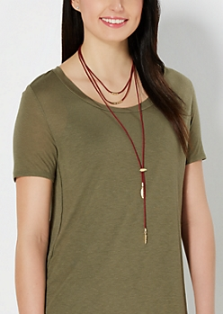 Feather Tiered Lariat Necklace