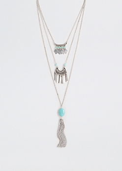 Turquoise Stone Tiered Necklace