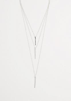Tiered Metallic Bar Necklace