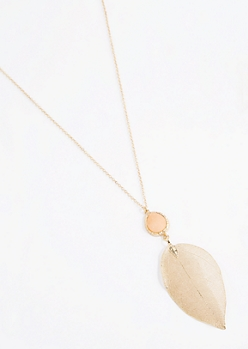 Golden Druzy Leaf Necklace