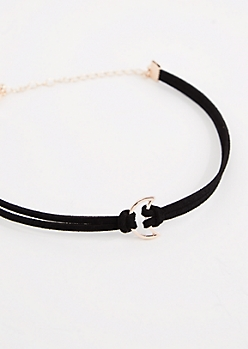Black Layered Crescent Moon Choker
