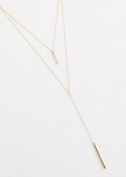 Diamante Linear Bar Layered Necklace