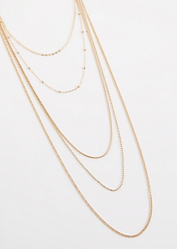 Gold Metallic Ball Bead Layered Necklace