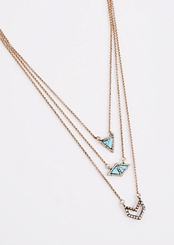 Turquoise Geo Stone Triple Chain Necklace