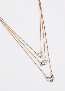 White Geo Stone Triple Chain Necklace