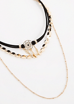 3-Pack Gold Dreamcatcher Choker Set