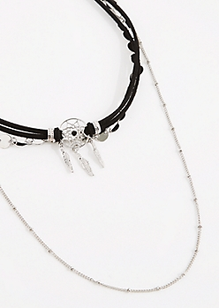 3-Pack Silver Dreamcatcher Choker Set