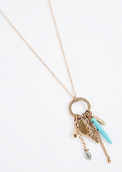 Tribal Turquoise Spike Pendant Necklace