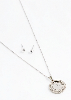 Initial S Medallion Jewelry Set
